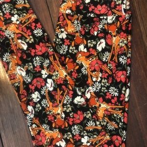 LuLaRoe Disney Black Floral Bambi OS Leggings